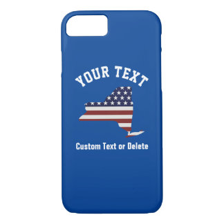 New York | Patriotic USA Flag | Your Text or City iPhone 7 Case