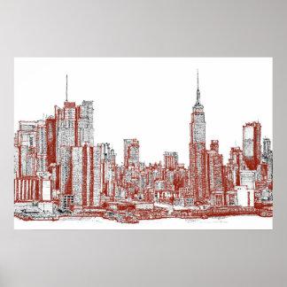 New York red black Print