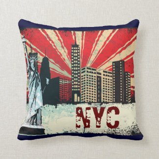 new york retro throw pillow