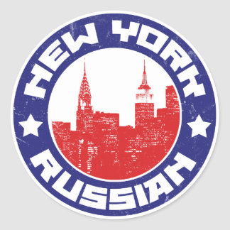 New York Russian American Classic Round Sticker