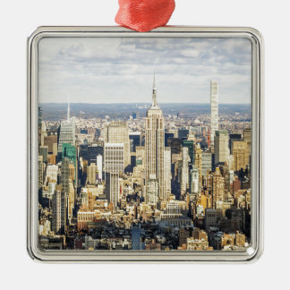 New York Silver-Colored Square Decoration