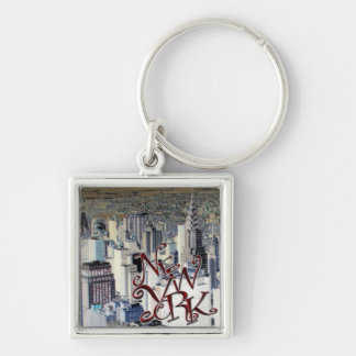 New York Silver-Colored Square Key Ring