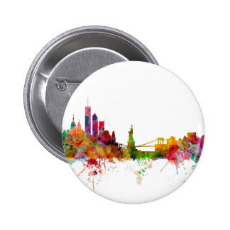 New York Skyline 6 Cm Round Badge