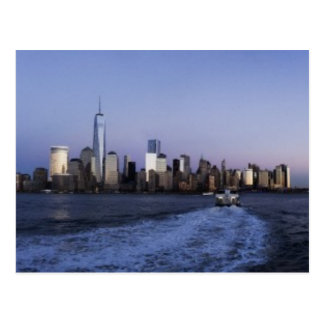 New York Skyline at dusk with ferry boat Postcard