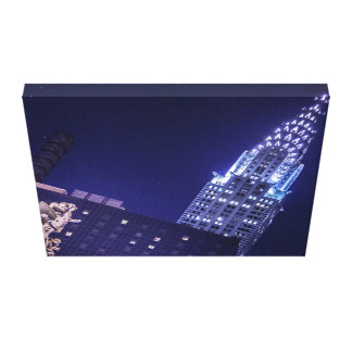 New York Skyline at Night Chrysler Building Canvas Gallery Wrapped Canvas