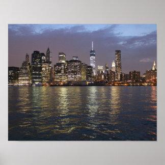 New York skyline at night Poster