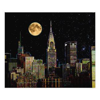 New York Skyline At Night With Full Moon Art Photo