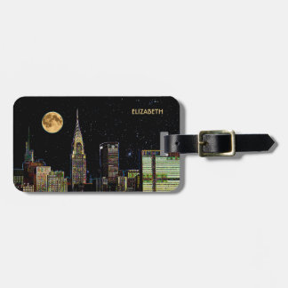 New York Skyline At Night With Full Moon Luggage Tag