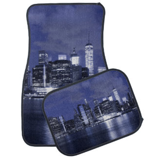 New York Skyline Bathed in Blue Car Mat