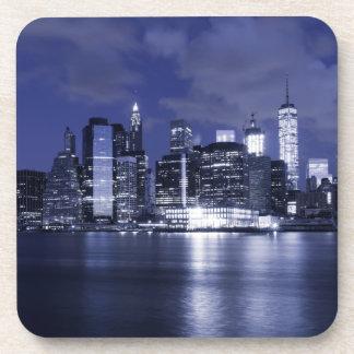 New York Skyline Bathed in Blue Coaster