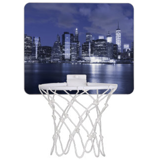 New York Skyline Bathed in Blue Mini Basketball Hoop