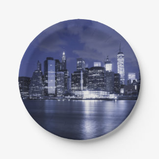 New York Skyline Bathed in Blue Paper Plate