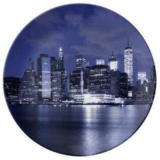 New York Skyline Bathed in Blue Plate