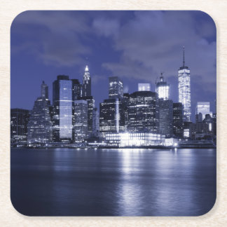 New York Skyline Bathed in Blue Square Paper Coaster