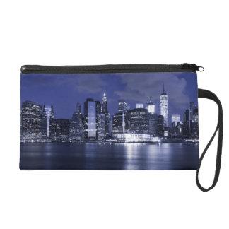 New York Skyline Bathed in Blue Wristlet