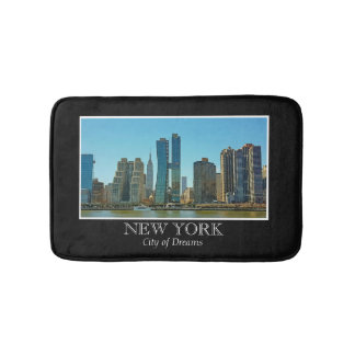 New York Skyline Black White Frame Photo Bath Mat