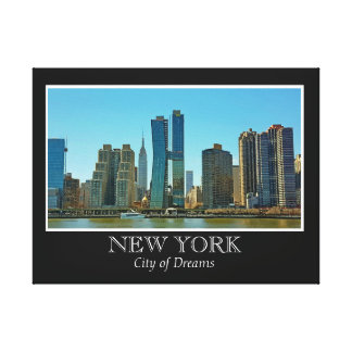 New York Skyline Black White Frame Photo Canvas Print