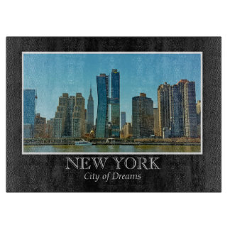 New York Skyline Black White Frame Photo Cutting Board