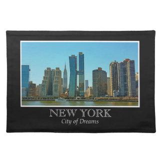 New York Skyline Black White Frame Photo Placemat