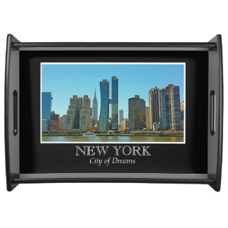 New York Skyline Black White Frame Photo Serving Tray