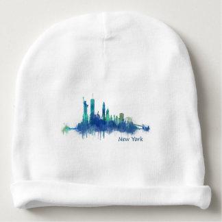 New York Skyline blue Watercolor v05 Baby Beanie