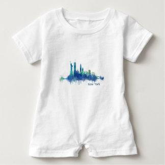New York Skyline blue Watercolor v05 Baby Bodysuit