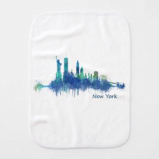 New York Skyline blue Watercolor v05 Burp Cloth
