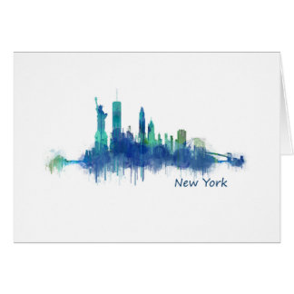 New York Skyline blue Watercolor v05 Card