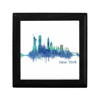 New York Skyline blue Watercolor v05 Gift Box