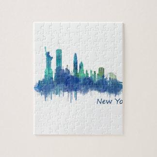 New York Skyline blue Watercolor v05 Jigsaw Puzzle