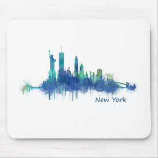 New York Skyline blue Watercolor v05 Mouse Pad