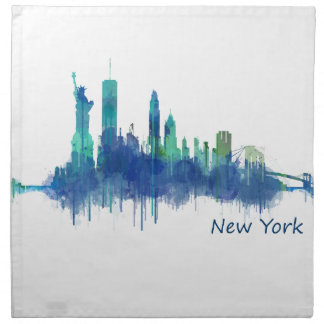 New York Skyline blue Watercolor v05 Napkin