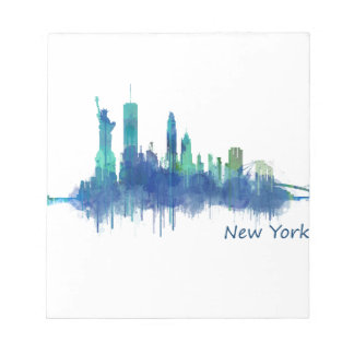 New York Skyline blue Watercolor v05 Notepad