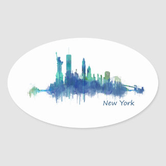 New York Skyline blue Watercolor v05 Oval Sticker