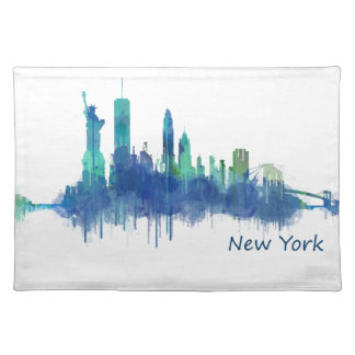 New York Skyline blue Watercolor v05 Placemat