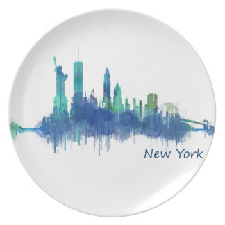 New York Skyline blue Watercolor v05 Plate