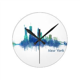 New York Skyline blue Watercolor v05 Round Clock