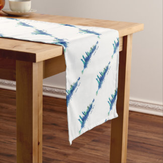New York Skyline blue Watercolor v05 Short Table Runner