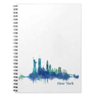 New York Skyline blue Watercolor v05 Spiral Notebooks