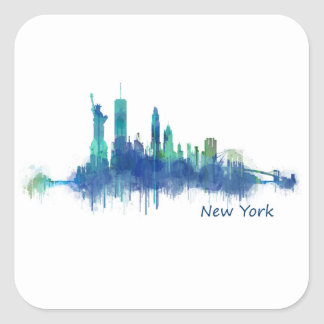 New York Skyline blue Watercolor v05 Square Sticker