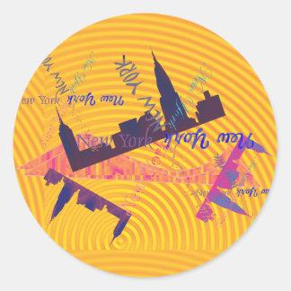 New York skyline Classic Round Sticker