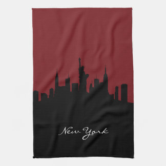 New York Skyline | Dark Red Tea Towel