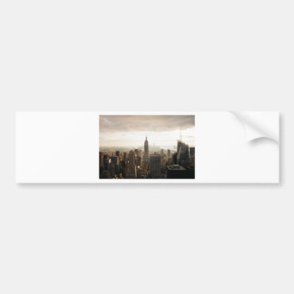 New York Skyline - dusk - grey Bumper Sticker