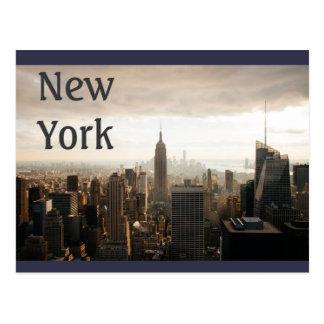 New York Skyline - dusk - grey Postcard
