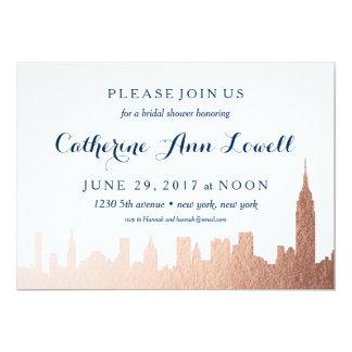 New York Skyline Faux Rose Gold Bridal Shower Card