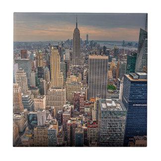 New York Skyline from Rockefeller Center Small Square Tile
