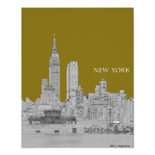 New York Skyline Illustration Poster