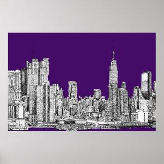 New York skyline in purple Posters