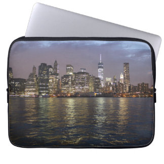 New York skyline in the evening Laptop Sleeves