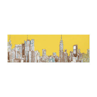 New York skyline in yellow Gallery Wrap Canvas